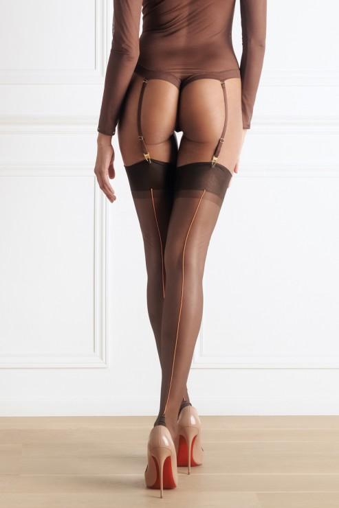 Maison Close - Sheer Thigh High Stockings - Brown Neon Orange
