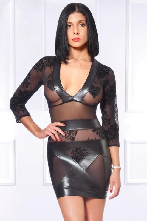 Maison Catanzaro - Evelina Wetlook Party Dress - Black