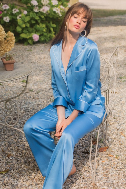 Marjolaine - Silk Pajama Set - Cobalt