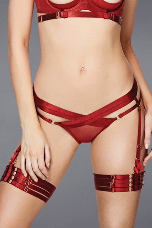 Bordelle Lingerie - Tomoe Harness Brief - Red