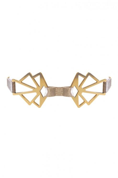 Bordelle Lingerie - Art Deco Collar Choker - Caramel-Sand