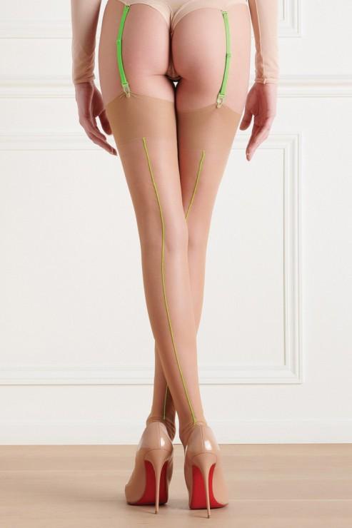 Maison Close - Sheer Thigh High Stockings - Nude Neon Green