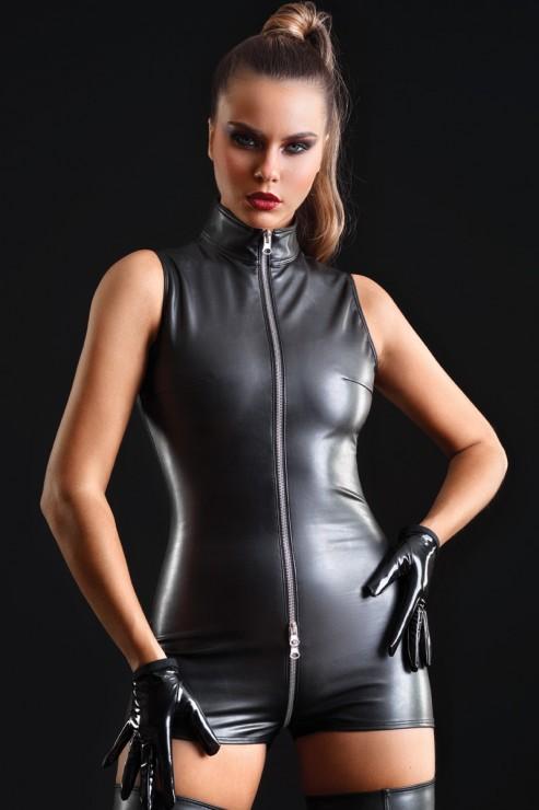 Maison Catanzaro - Erika Leatherette Bodysuit - Black