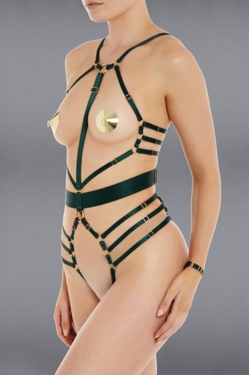 Bordelle Lingerie - Ula Bondage Body Harness - Eden Green