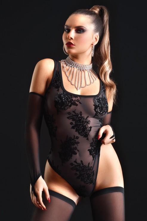 Maison Catanzaro - Kat Mesh Thong Body - Black