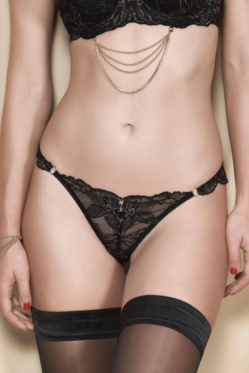 Escora - Stella Tanga Brazilian Briefs - Black Gold