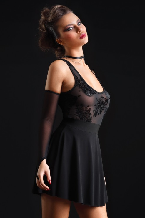 Maison Catanzaro - Kat Mesh Lycra Robe - Black
