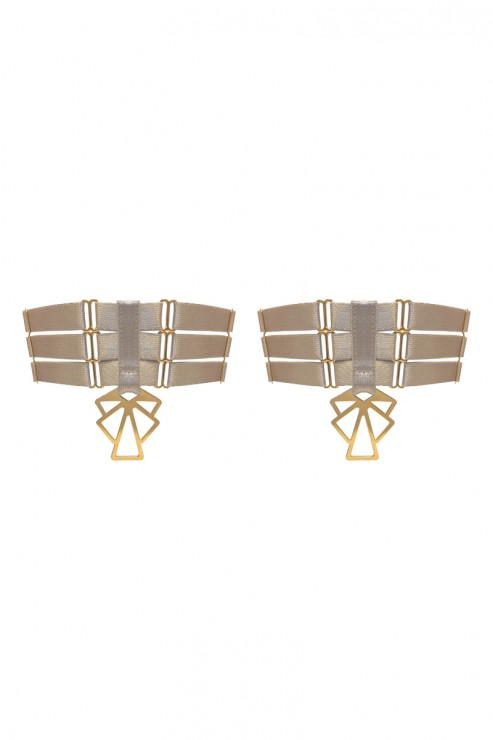 Bordelle Lingerie - Art Deco Garters - Caramel-Sand