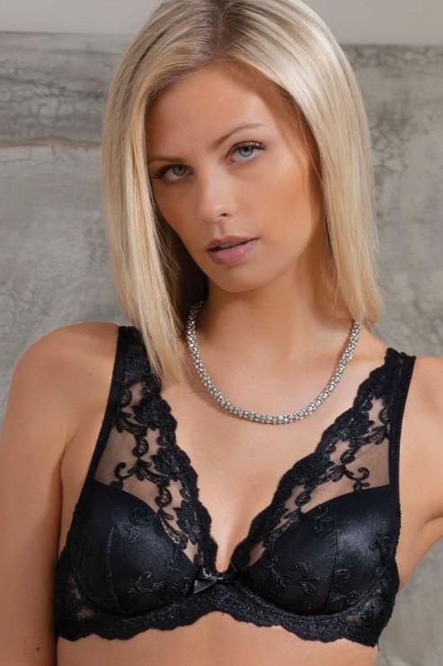 Ambra Lingerie - Platinum Triangle Bralette Bra - Black