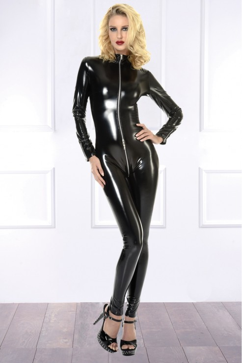 Patrice Catanzaro - Sweety Vinyl Open Catsuit - Black
