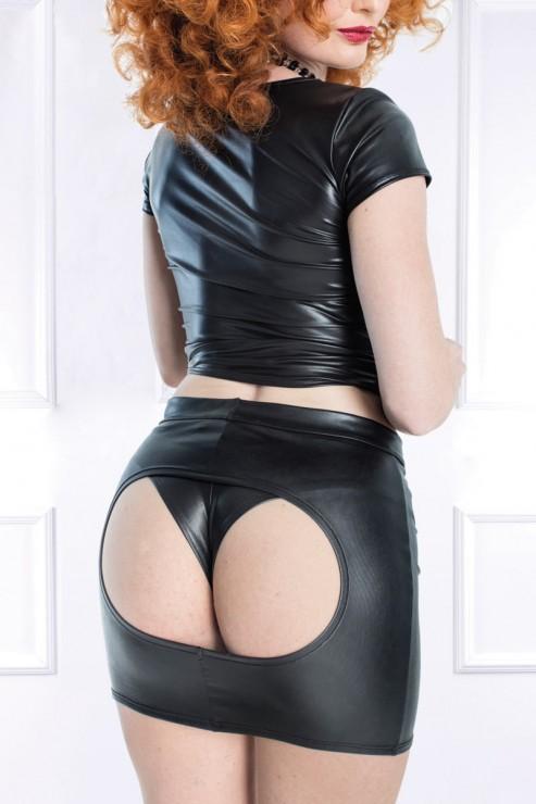 Maison Catanzaro - Andrea Wetlook Mini Skirt - Black