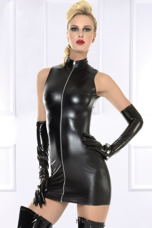 Maison Catanzaro - Lindsay Wetlook Dress - Black