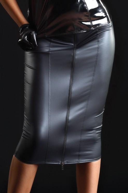 Maison Catanzaro - Ornella Wetlook Pencil Skirt - Black