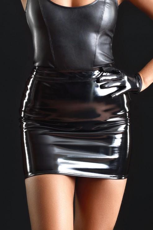 Maison Catanzaro - Praline Vinyl Mini Skirt - Black