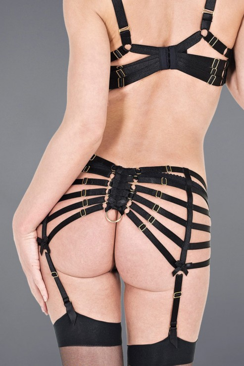 Bordelle Lingerie - Webbed Suspender Garter Belt - Black