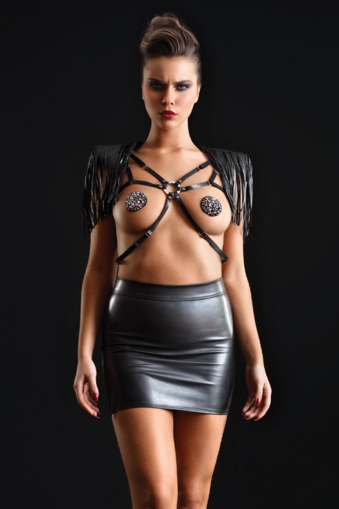 Maison Catanzaro - Reglisse Leatherette Mini Skirt - Black